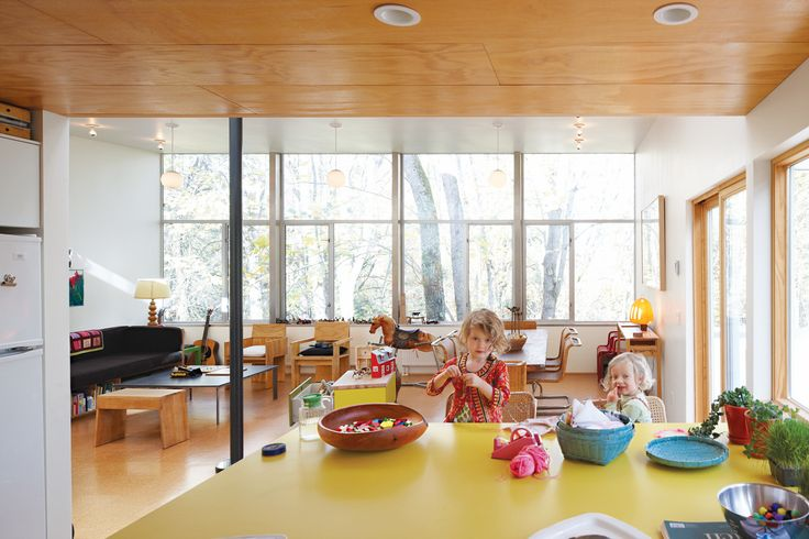 Hale's material preferences helped keep costs low: Inexpensive plywood lines the ceiling and cork covers the floors. He covered the kitchen island with yellow plastic laminate.