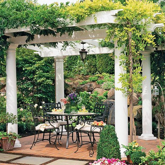 "Classic Pergola ""Pergolas endow a style with Mediterranean origins, especially of Italy. This traditional structure covered in vines is a prime example. The romantic, charming space is hard to resist."""