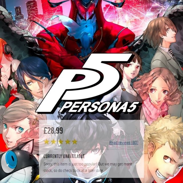 #Persona5 is so damned hard to buy in the UK - out of stock nearly everywhere - great price at Argos, but NO STOCK. - Tags: yasuo,teemo,fanart,rito,psn,soraka,xbox,cosplay,sona,persona5,assassinscreed,proleague,ubisoft,cod,gamerlife,game,ps3,battlefield1,leagueoflegendsislife,playstation4,art,dankmeme,codww2,gaminglife,ps4pro,tomclancysrainbowsixsiege,ahri,playstation,dankmemes