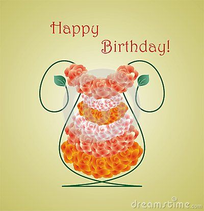 #flower #vase shaped #birthday #card with #roses and Happy Birthday #message