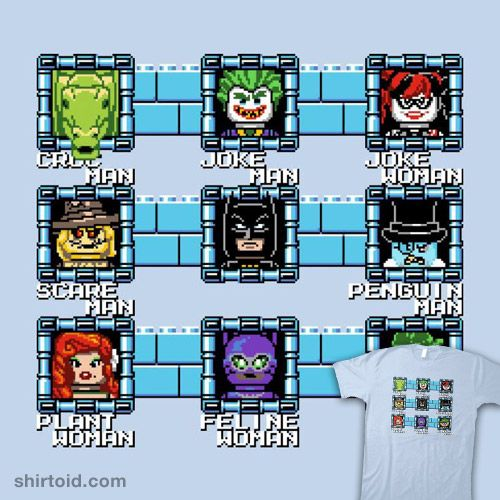 MegaBat Brick Masters | Shirtoid #batman #catwoman #comic #comics #dccomics #film #gaming #harleyquinn #killercroc #lego #legominifigure #megaman #minifig #movie #nathandavis #obvian #penguin #poisonivy #thejoker #theriddler #thescarecrow #videogame