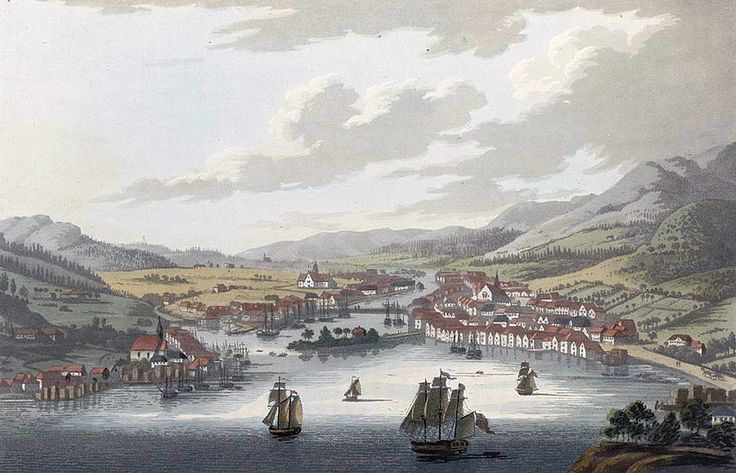 """Dram (JW Edy plate 71). English: """"Dram"""" Norsk bokmål: «Dramen» Drawing by John William Edy (1760-1820) from his journey along the coast of Norway during the summer of 1800. Published in Boydell's picturesque scenery of Norway in 1820."""
