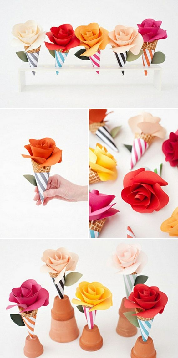 how to make paper rigid cones for flowers
