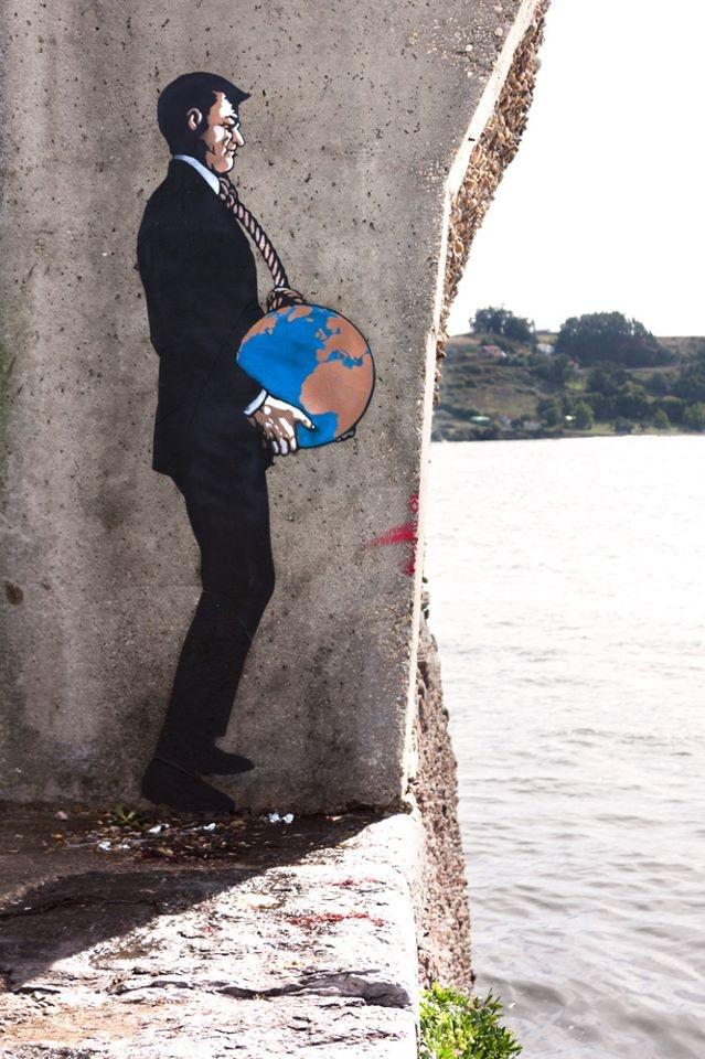 """""""World"""" by Sr. X - Street Art in Luanco, Spain"""
