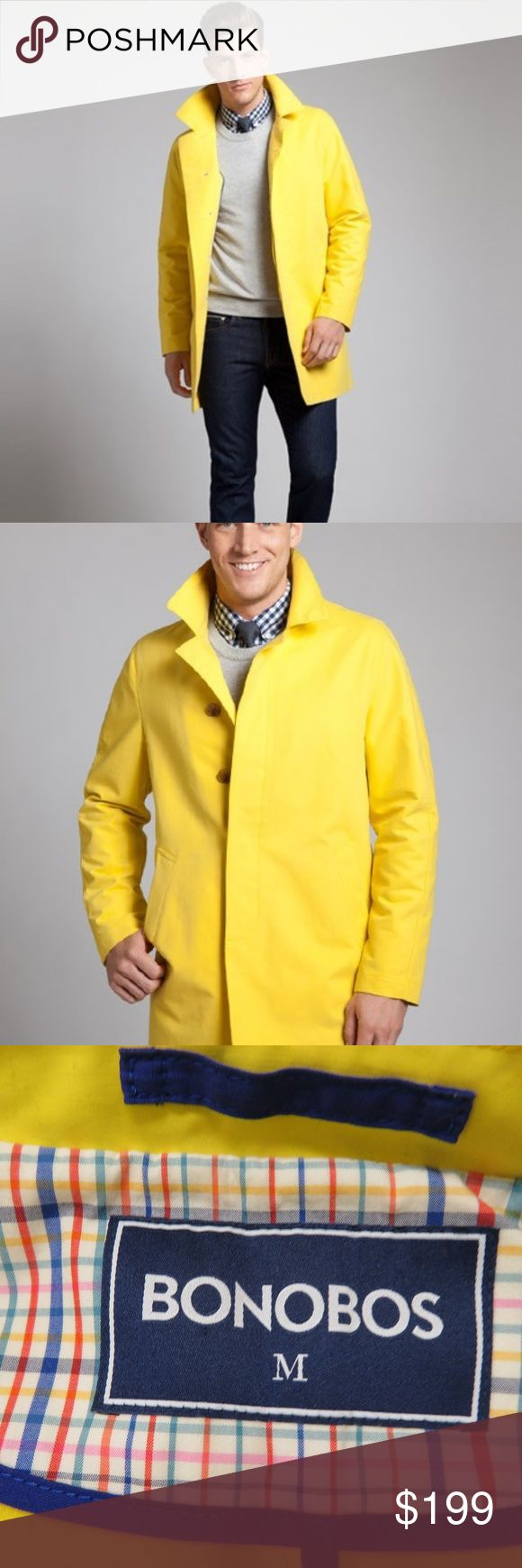 "Bonobos Shamus Rain Coat Yellow Mens Medium Trench New Bonobos men's size medium yellow Shamus rain trench coat.  Great looking coat!  I ship fast and package securely for safe delivery!  Measurements Length 39.5"" Armpit to Armpit 22""  The retail price is $300.  The coat has dirt on it from storage, but it is new.  The pockets are still sewn shut. Bonobos Jackets & Coats Trench Coats"