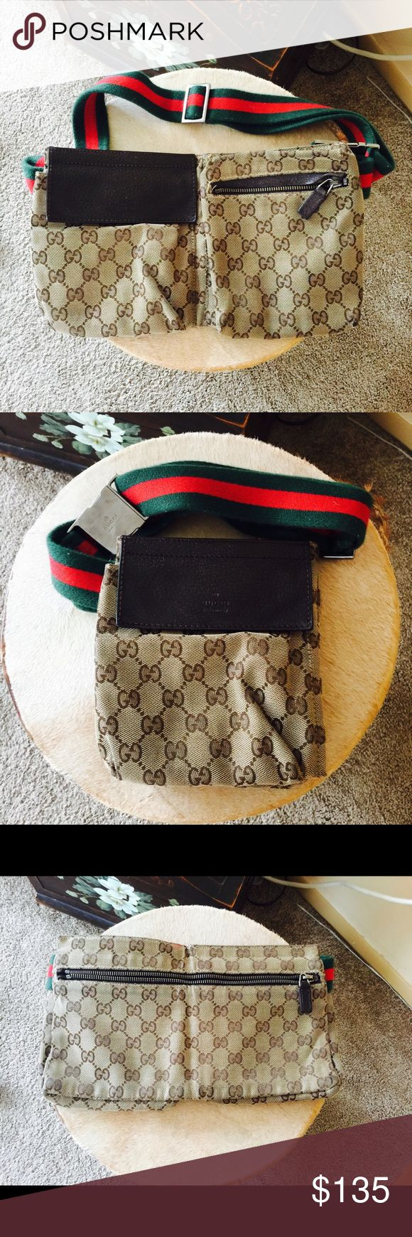 Authentic Gucci fanny pack Authentic Gucci fanny pack for the stylish woman. This fanny pack is an original. Still in great condition for the Gucci lover in you. This is unisex. Bag retails for $300 on eBay right now slightly used. Gucci Bags
