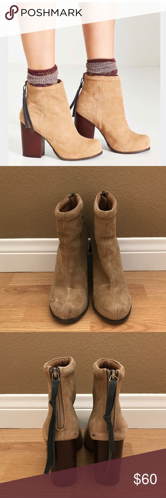 Jeffrey Campbell Beige Rumble Ankle Booties Jeffrey Campbell beige zip up ankle booties with 4 inch wood heels. Only worn a few times, with a few imperfections but pretty good condition!  Size 6. Jeffrey Campbell Shoes Ankle Boots & Booties