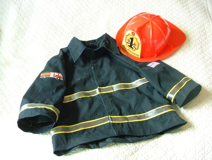 DIY firefighter costume jacket out of women's black blouse.