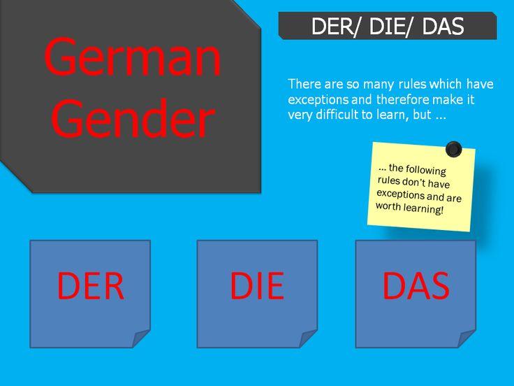 German grammar - gender explanation