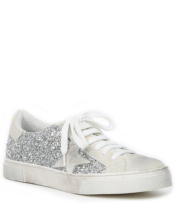 Steve Madden Rubie Suede Glitter Star Distressed Sole Lace Up Sneakers Dillard S