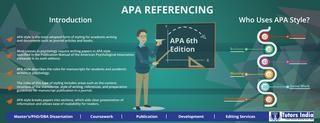 APA Referencing Guide | APA citation | References-Formatting  Introduction: •APA style is the most adopted form of styling for academic writing and documents such as journal articles and books. •Most classes in psychology require writing papers in APA style specified in the Publication Manual of the American Psychological Association (released in its sixth edition).  •APA style describes the rules for manuscripts for students and academic writers in psychology.  •The rules of this type…