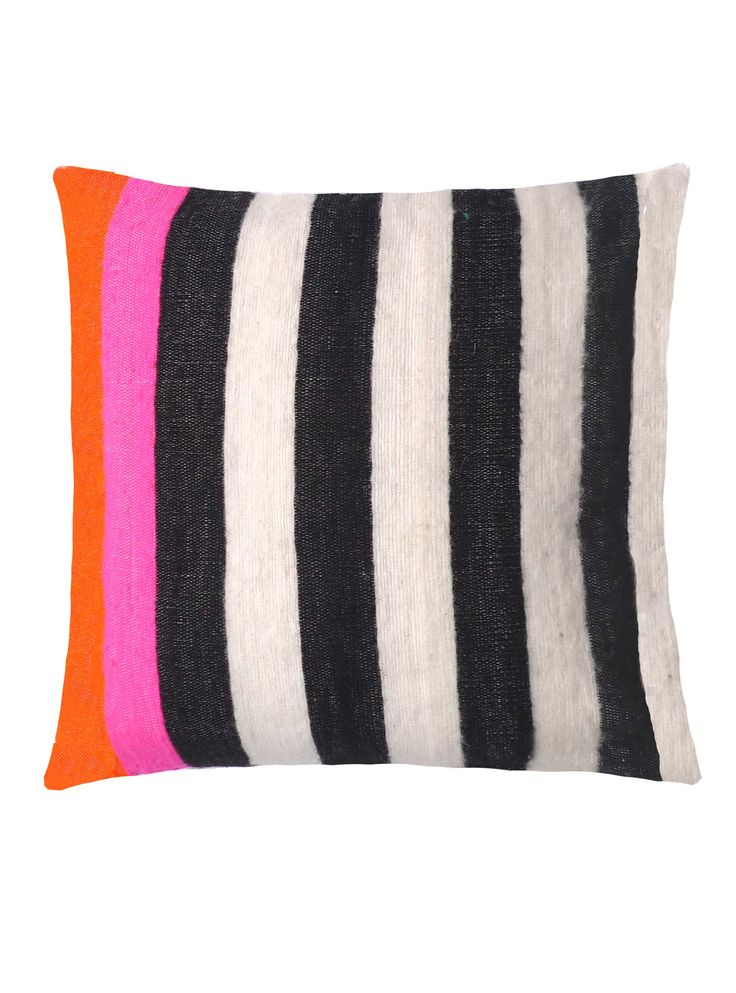 kira-cph.com design: handwoven cushion cover / pillow case, black and white striped with neon-colors