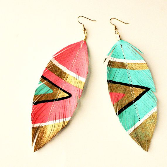 Neon Aztec Leather Feather Earrings by Love Sexton