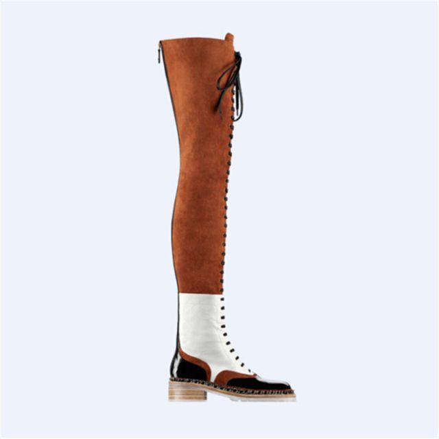2015 vrouwen laarzen nieuwe britse stijl herfst winter laarzen lace up dij hoge laarzen patch gladiator hakken regen laarzen botas