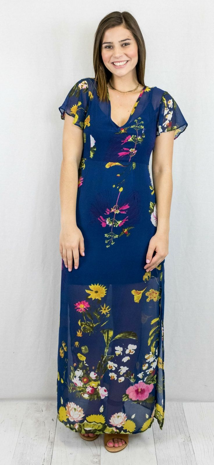 Navy floral print maxi look book the copper closet