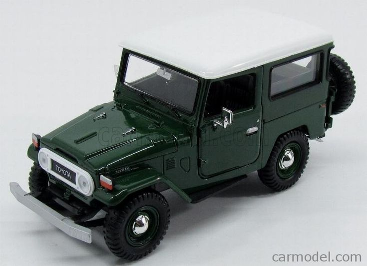 MOTOR-MAX 79323GR Scale 1/24  TOYOTA FJ40 LAND CRUISER HARD-TOP CLOSED 1980 GREEN WHITE