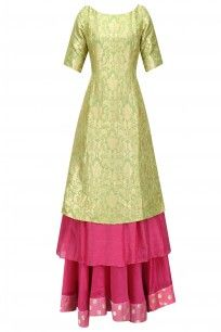Green and Pink Brocade Double Layered Kurta with Skirt Set #myoho #ethnic #shopnow #ppus #Happyshopping