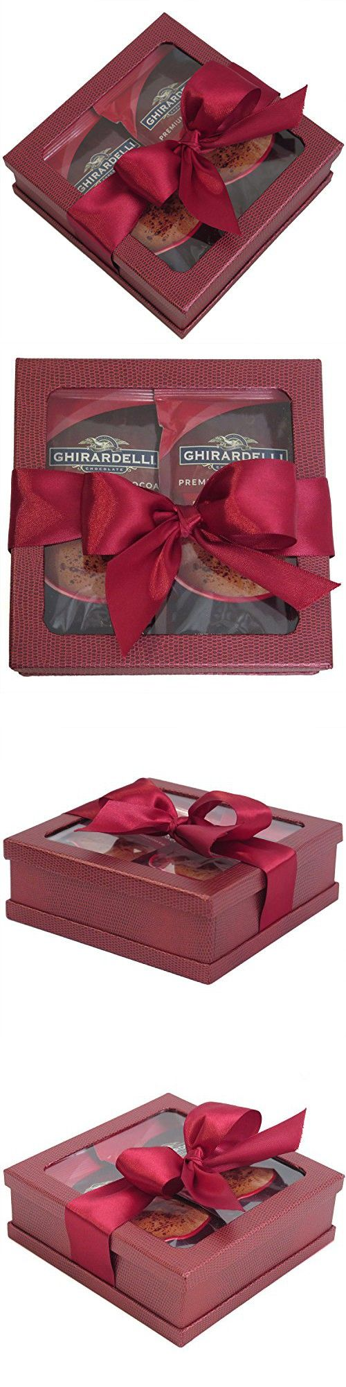 Holiday Hot Cocoa Drink Mix Gift Set for Christmas - Ghirardelli Hot Cocoa Gift - Best Coffee Gift Set - Best Gift for Coworkers, Friends, Boss Etc. - Coffee Gift (Burgundy)