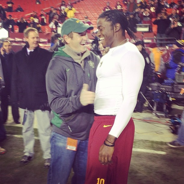 #Redskins QB Robert Griffin III and Baylor head coach Art Briles share a laugh prior to the 12/30/12 game vs. the Cowboys.