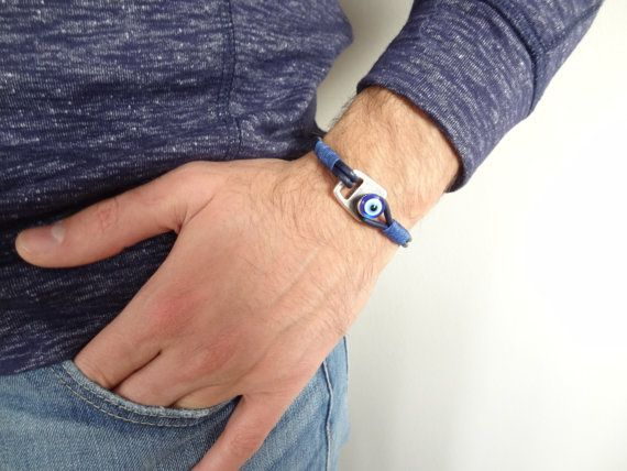 Men's Evil Eye Bracelet, Navy Blue Leather and Silver Hook Clasp, Men's for Protection, Mens Jewelry, Gift for Him, Father's Day Gifts