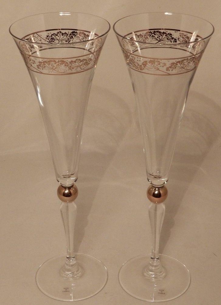 05363a3fe2dd Crystal Flute Champagne Glasses Godiva Chocolatier Gold Millennium (Set of 2)  #GODIVA