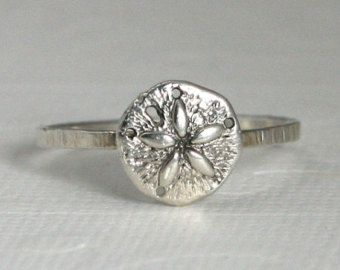 sterling silver sand dollar ring nautical by ShopTidalTreasures