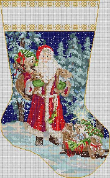 Santa In Forest Stcking