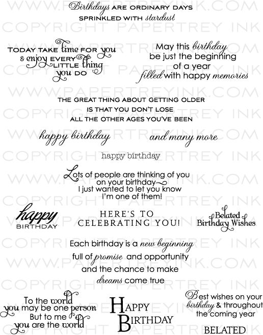 Papertrey Inside & Out: Birthday Stamp Set