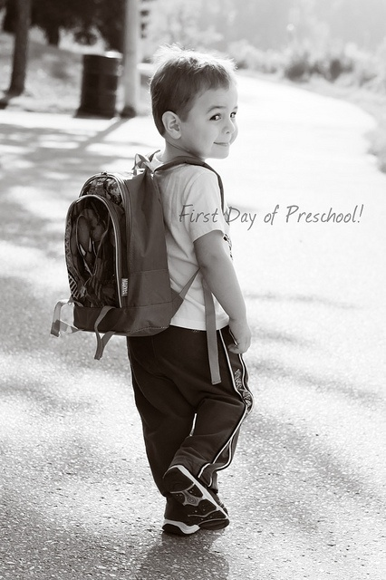 My boy's first day of preschool...cheeky monkey!