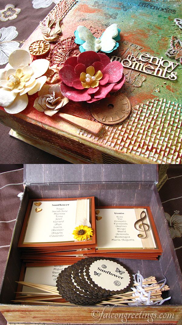 Our latest project for a beautiful wedding in Portugal.  Capture memories in a special, handcrafted mixed media memory box.
