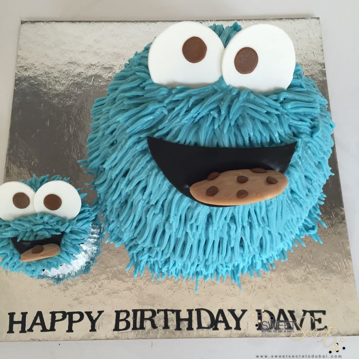 Cookie Monster Cake, Buttercream Icing and Fondant Accents. Novelty Cakes Dubai…