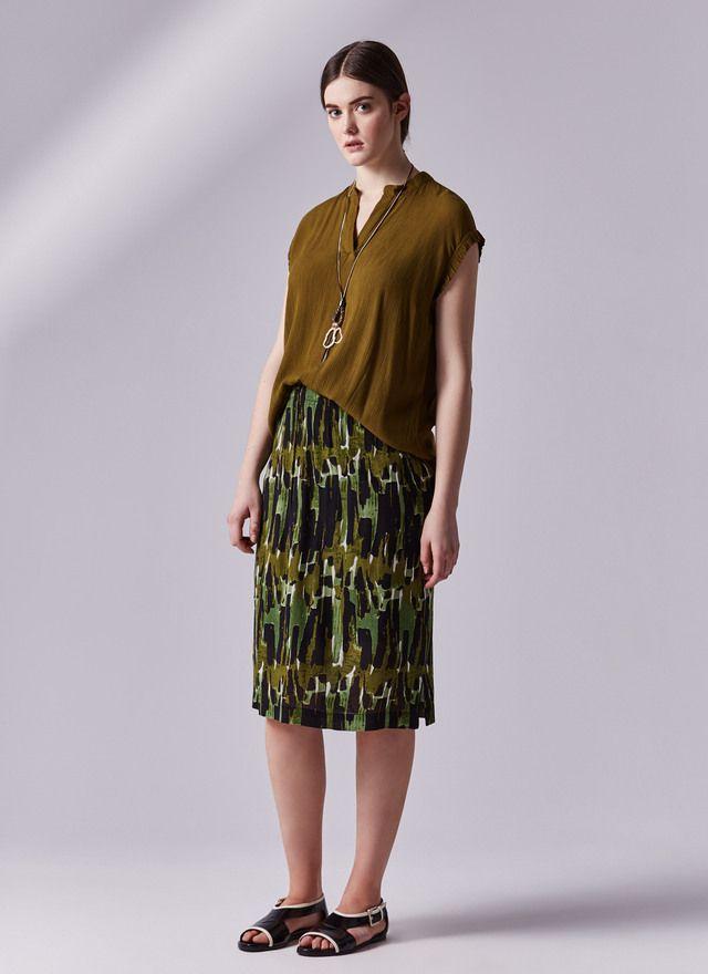 Falda tubo con cintura elástica - Faldas | Adolfo Dominguez shop online