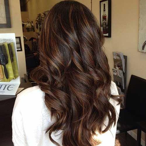 Low Lighted Dark Brown Long Hair Styles