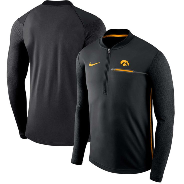 Iowa Hawkeyes Nike 2017 Coaches Sideline Half-Zip Jacket - Black