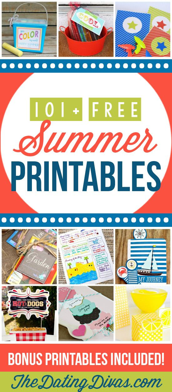 Can't wait to use these awesome and FREE printables all summer long! www.TheDatingDivas.com