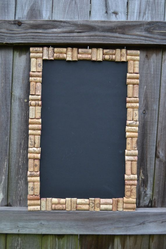 This is a 16 x 24 chalk board framed by all natural wine corks. It is mounted on MDF and ready to hang vertically or horizontally. This item is