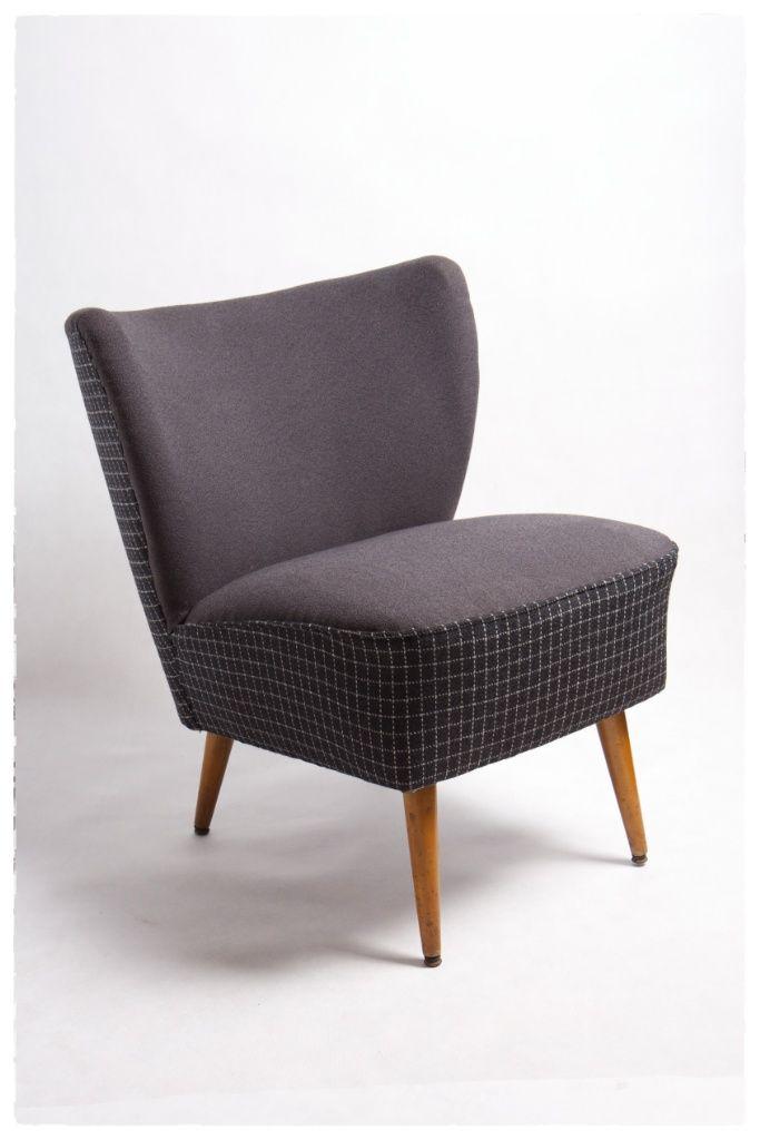 fotel koktajlowy, lata 50'te, wykończenie tkanina wełniana