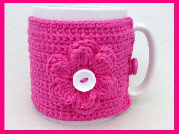Cerise crochet mug cozy by MyfanwysMakes on Etsy, £6.30