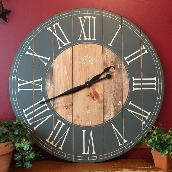 32 Inch Rustic Wall Clock - Large Wooden Clock - Distressed Clock - Farmhouse Clock - Handcrafted Clock- Rustic Decor