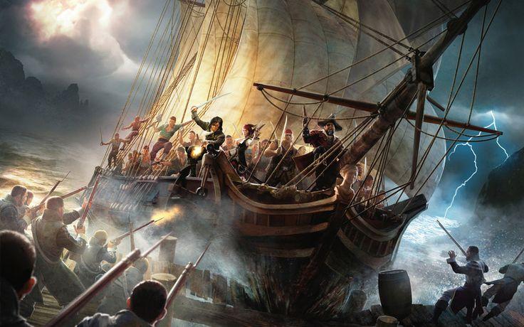 шторм, пираты, арт