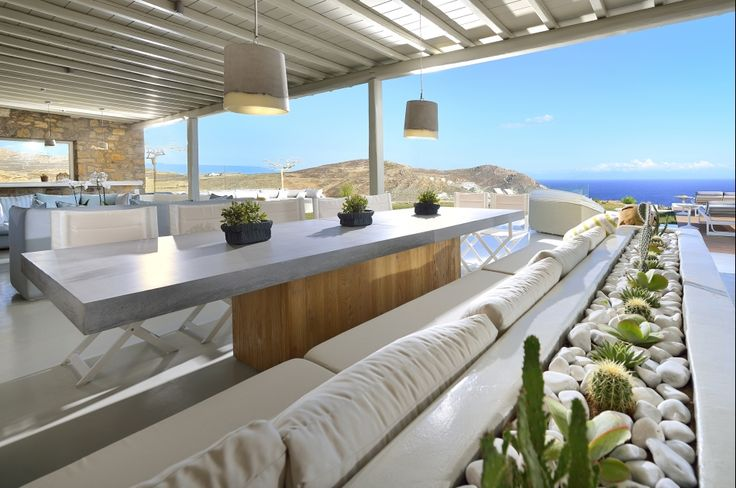 Outdoor dining table, custom made, solid wood, chestnut and concrete, greek interior design