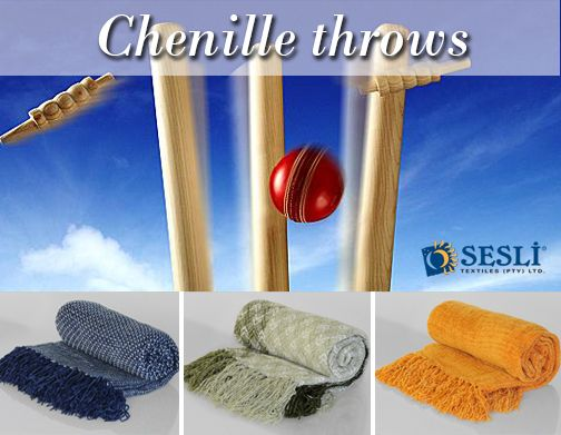 Got the cricket fever! You will be bowled over with our choice of vibrant chenille throws. Light-weight to take along to the match and extremely soft and comfortable. tel: 011-674-3069; email: sales@sesli.co.za