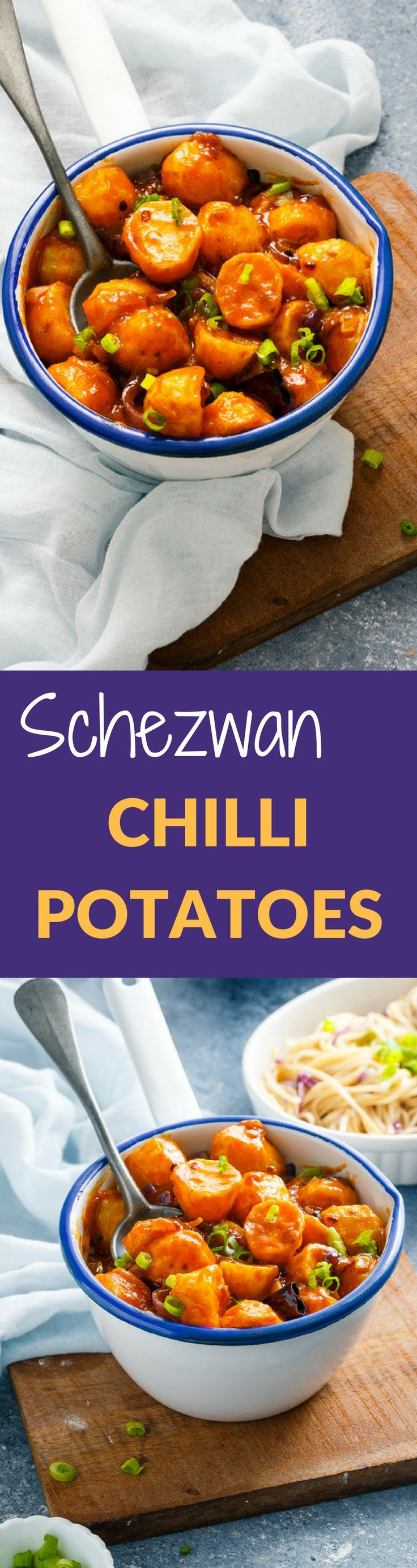 SCHEZWAN CHILLI POTATOES is a popular Indo Chinese Recipe made with Crispy Fried Potatoes , Sichuan Peppers, Soya Sauce and Schezwan Sauce . Its Slightly Sweet, Hot , Tangy and pairs well with Garlic Noodles or Fried Rice.