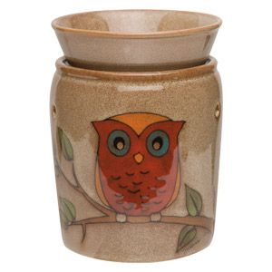 Peering out with its big blue eyes, this hand-painted little owl rests on a leafy branch against a taupe evening sky. To purchase, go to www.jenni.scentsy.com.au
