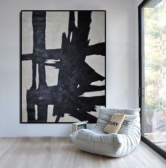 Hand Painted Extra Large Abstract Painting, Horizontal Acrylic Painting Large Wall Art. Black White Painting Original Art.