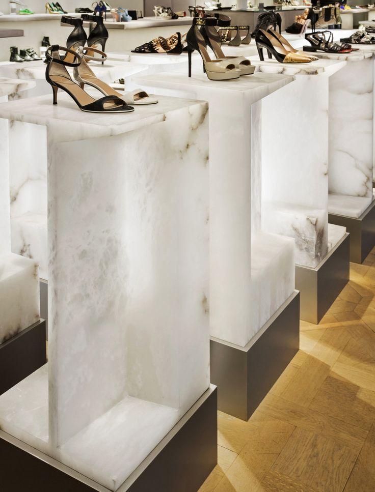 Selfridges Shoe Galleries – Alabaster plinths   Jamie Fobert Architects