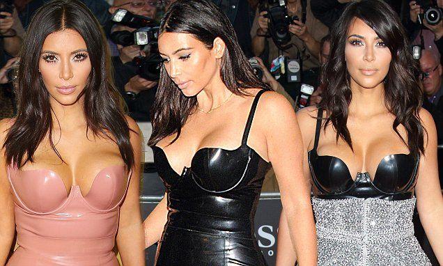 Kim Kardashian in London's designer Atsuko Kudo latex outfits.   (2014)
