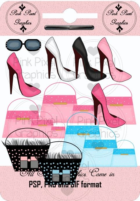Buy 1 Get 1 Free Hollywood Boutique Purses Shoes Sunglasses Clip Art Graphics. $0.95, via Etsy.