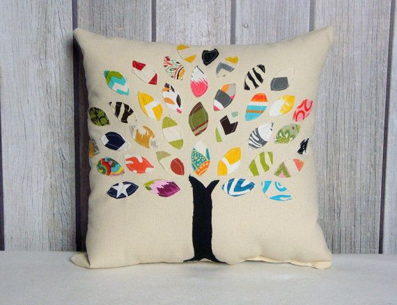This listing is for one 16x16 appliqued pillow cover. The design on these covers is one of a kind and no 2 are alike. We use scrap material and create leaves so each leaf is unique. The leaves are sewn on a cream cotton canvas fabric with an envelope back closure.  ** Covers measure slightly smaller than listed so a 16x16 form will fit perfectly. ** Covers have a envelope back. You can purchase forms at Joann Fabric stores, Hobby Lobby or your nearest craft store. ** All stress points are…