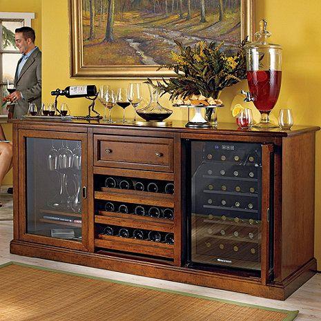 Siena+Wine+Credenza+(Walnut)+with+Wine+Refrigerator+at+Wine+Enthusiast+-+$2,495.00